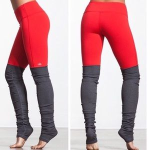 Alo Yoga red Gray Goddess Ribbed Legging